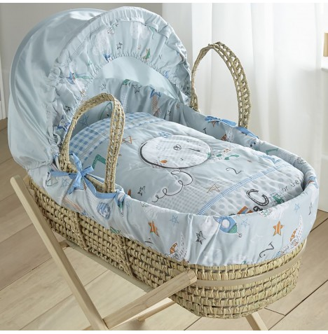 Clair De Lune Padded Palm Moses Basket - Forty Winks