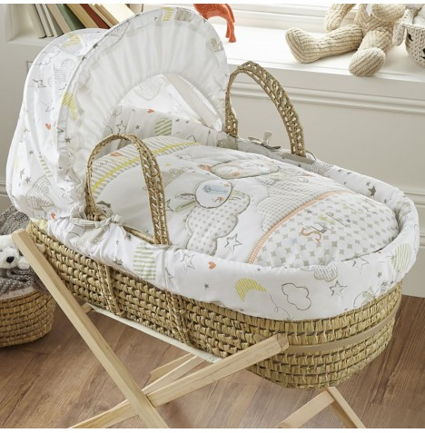 Clair De Lune Padded Palm Moses Basket - Sleep Tight