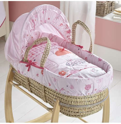 Clair De Lune Padded Palm Moses Basket - Tippy Toes