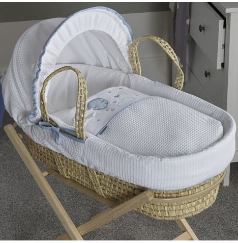 Clair De Lune Padded Palm Moses Basket - Over The Moon Blue