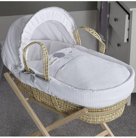 Clair De Lune Padded Palm Moses Basket - Over The Moon Grey