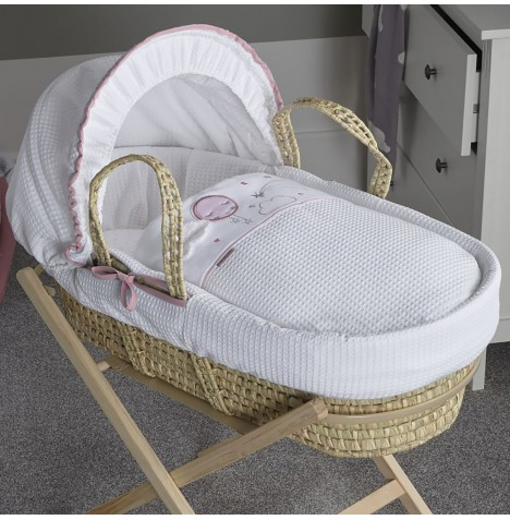 Clair De Lune Padded Palm Moses Basket - Over The Moon Pink