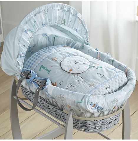 Clair De Lune Padded Grey Wicker Moses Basket - Forty Winks