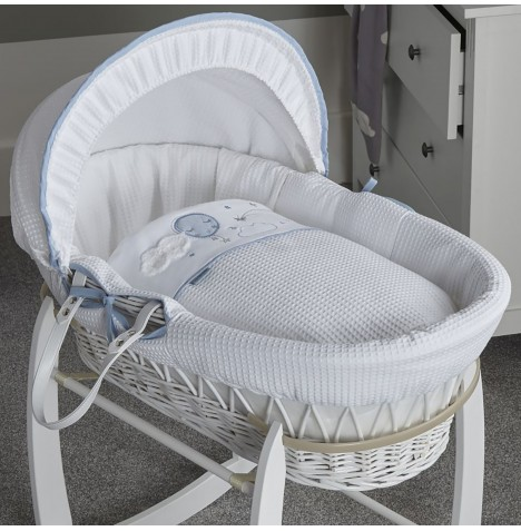 Clair De Lune Padded White Wicker Moses Basket - Over The Moon Blue