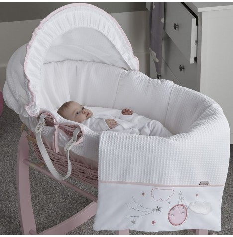 Clair De Lune Padded Pink Wicker Moses Basket - Over The Moon Pink