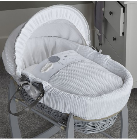 Clair De Lune Padded Grey Wicker Moses Basket - Over The Moon Grey