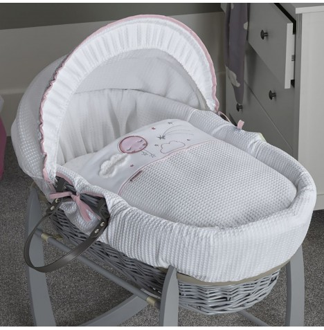 Clair De Lune Padded Grey Wicker Moses Basket - Over The Moon Pink