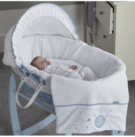 Clair De Lune Padded Blue Wicker Moses Basket - Over The Moon Blue