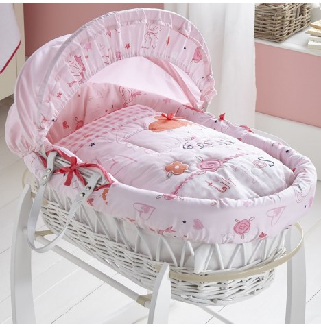 Clair De Lune Padded White Wicker Moses Basket - Tippy Toes
