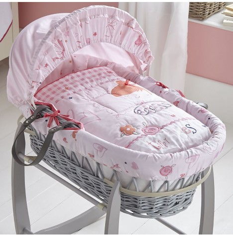 Clair De Lune Padded Grey Wicker Moses Basket - Tippy Toes