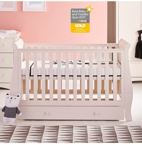 Mee-Go Oslo Cot Bed With Drawer & Deluxe Foam Mattress - Ivory White..