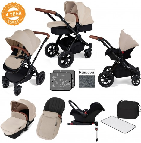 Ickle bubba Stomp V3 Black All In One Travel System & Isofix Base - Sand