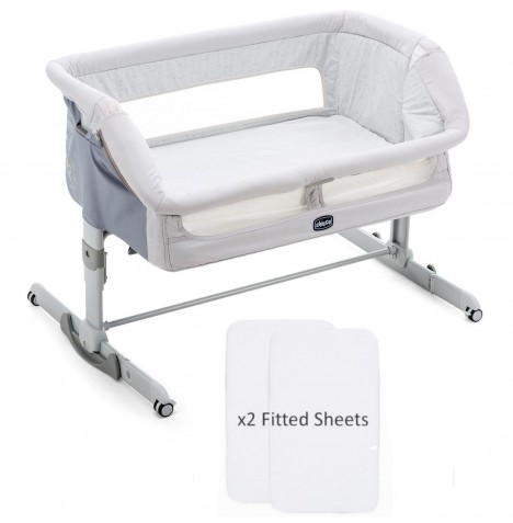 Chicco Next 2 Me Dream Crib With 2 Fitted Sheets - Delicacy Grey