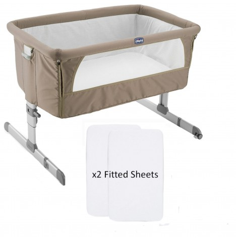 Chicco Next2Me Crib With 2 Fitted Sheets - Dove Grey..