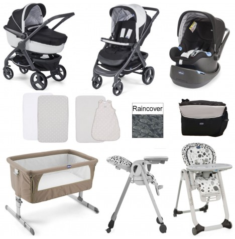 Chicco Trio StyleGo / Polly Progres5 Everything You Need 12 Piece Travel System Bundle - Dove Grey