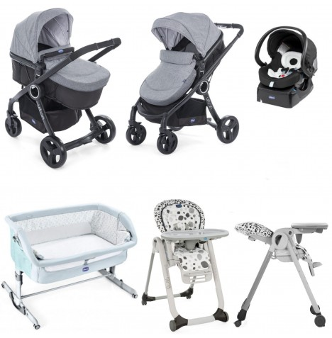 Chicco 7 Piece Urban Plus / Polly Progres5 Everything You Need Travel System Bundle - Legend