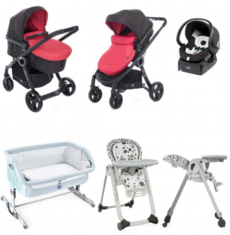 Chicco 7 Piece Urban Plus / Polly Progres5 Everything You Need Travel System Bundle - Red Passion