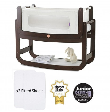 Snuz SnuzPod2 Bedside Crib 3 in 1 With Mattress & 2 Fitted Sheets - Espresso