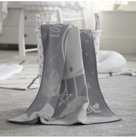 Clair De Lune Fleece Blanket - Over The Moon Grey