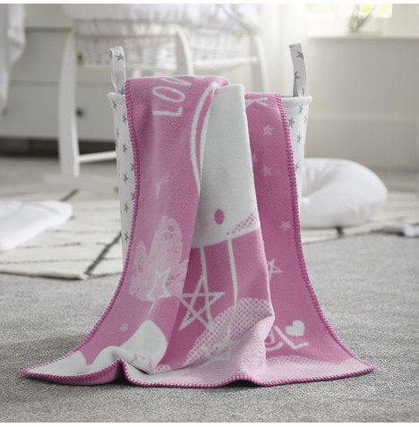 Clair De Lune Fleece Blanket - Over The Moon Pink