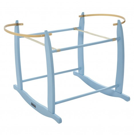 Clair De Lune Deluxe Wooden Moses Basket Rocking Stand - Blue
