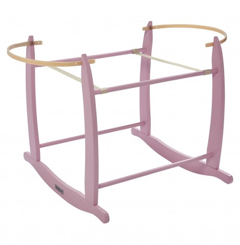 Clair De Lune Deluxe Wooden Moses Basket Rocking Stand - Pink