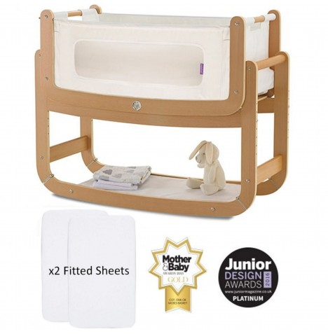 Snuz SnuzPod2 Bedside Crib 3 in 1 With Mattress & 2 Fitted Sheets - Natural
