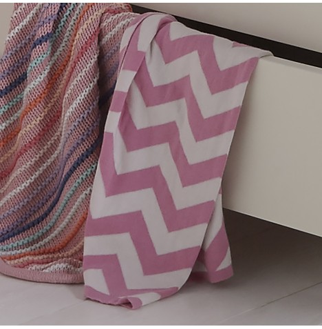Clair De Lune Pram Blanket - Chevron Blush