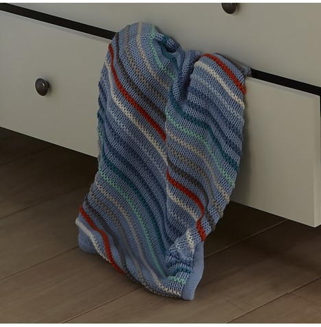 Clair De Lune Stripe Knit Pram Blanket - Blue