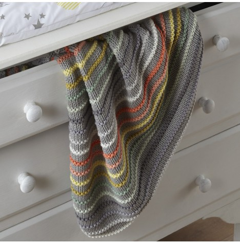 Clair De Lune Stripe Knit Pram Blanket - Grey