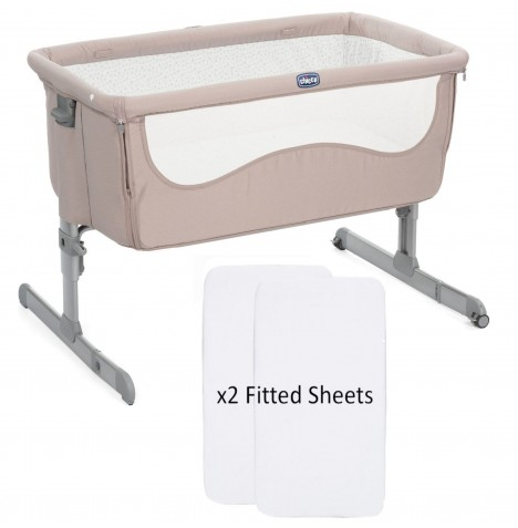 Chicco Next2me Bedside Crib With 2 Fitted Sheets - Chick To Chick