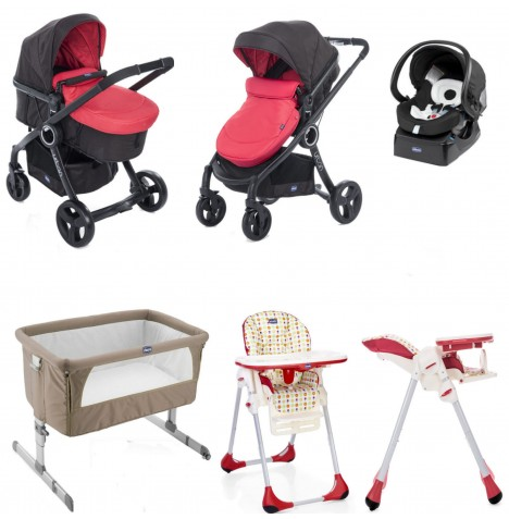 Chicco 7 Piece Urban Plus / Polly Easy Everything You Need Travel System Bundle - Red Passion / Sunrise
