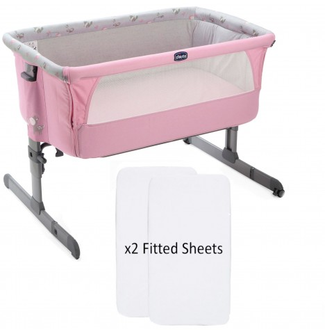 Chicco Limited Edition Next2Me Crib With 2 Fitted Sheets - Princess