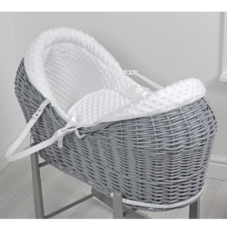4baby Grey Wicker Deluxe Rollover Snooze Pod - White Dimple