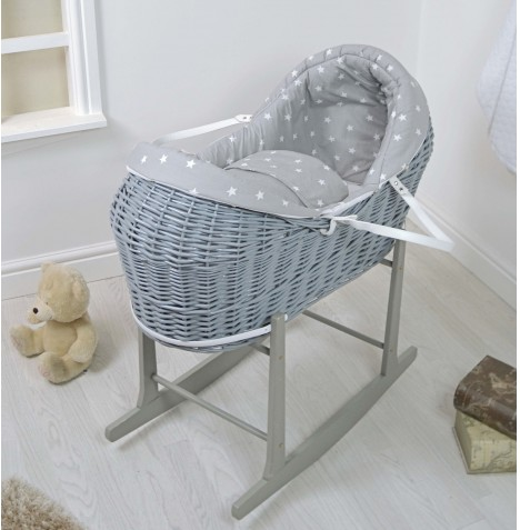 4baby Grey Wicker Deluxe Rollover Snooze Pod & Rocking Stand - Grey / White Stars