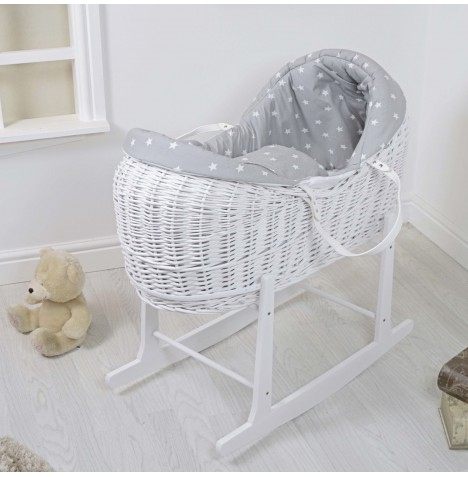 4baby White Wicker Deluxe Rollover Snooze Pod & Rocking Stand - Grey / White Stars