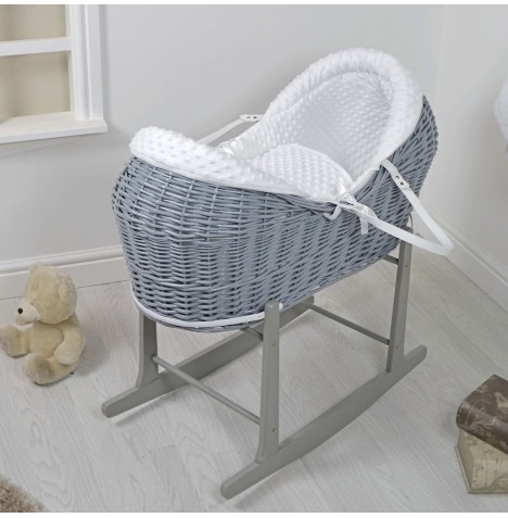 4baby Grey Wicker Deluxe Rollover Snooze Pod & Rocking Stand - White Dimple