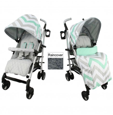My Babiie MB51 Stroller - Mint Chevron