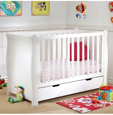 Puggle Sleigh Cot With Drawer & Maxi Air Cool Mattress - White