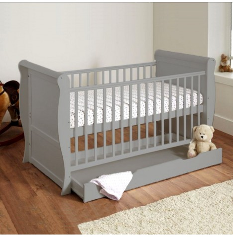 4baby Sleigh Cot Bed With Storage Drawer & Sprung Mattress - Grey