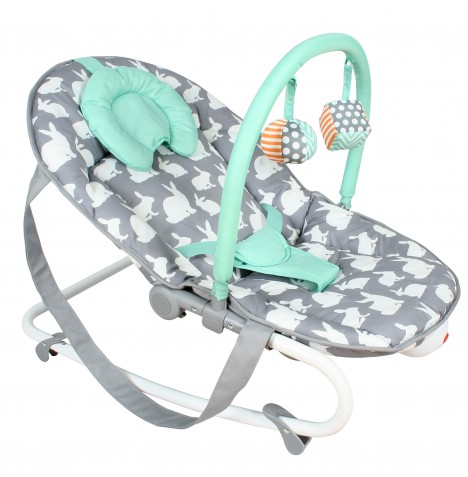 My Babiie 2 in 1 Floor Bouncer / Rocker - Grey Rabbits