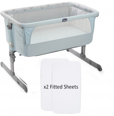 Chicco Limited Edition Next2Me Crib With 2 Fitted Sheets - Sky..