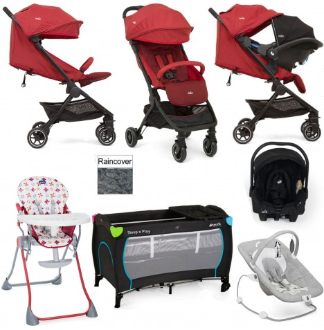 Joie Pact Everything You Need Gemm Travel System Bundle - Cranberry