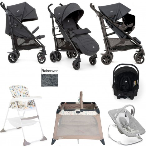 Joie Brisk LX Everything You Need Juva Travel System Bundle - Pavement