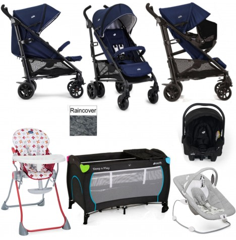 Joie Brisk LX Everything You Need Juva Travel System Bundle - Midnight Navy