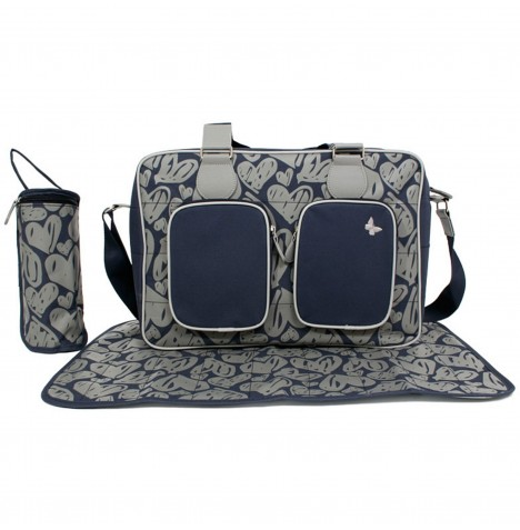 My Babiie Deluxe Changing Bag *Katie Piper Collection* - Navy Hearts