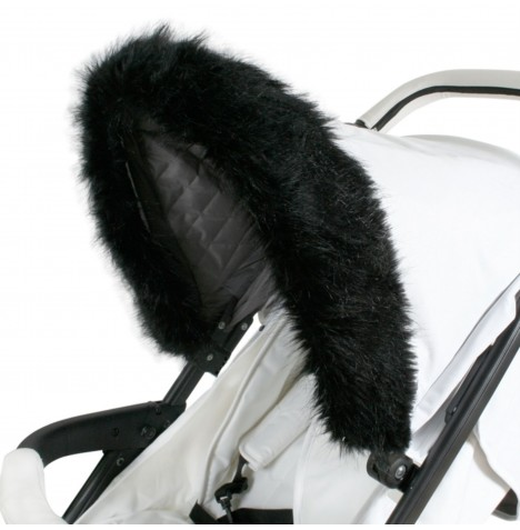 My Babiie Pram Hood (Faux) Fur Trim - Black
