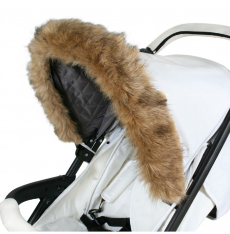My Babiie Pram Hood (Faux) Fur Trim - Brown