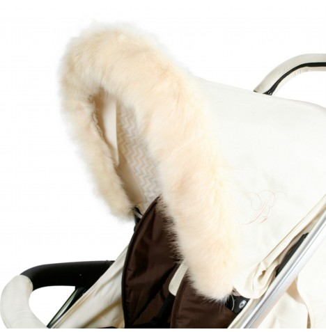 My Babiie Pram Hood (Faux) Fur Trim - Cream