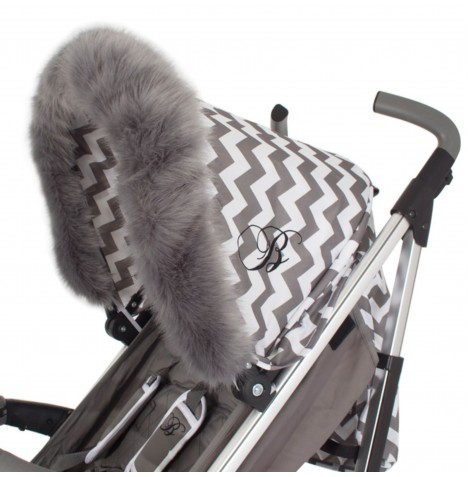 My Babiie Pram Hood (Faux) Fur Trim - Grey